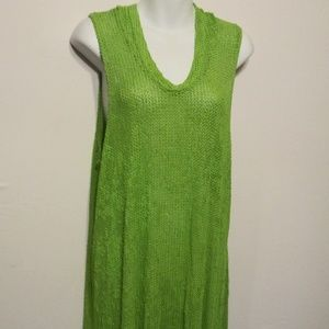 Great Lime Green Hooded Beach Cover up L or XL